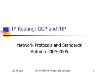 IP Routing: GGP and RIP