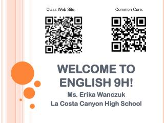 WELCOME TO ENGLISH 9H!