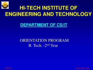 HI-TECH INSTITUTE OF ENGINEERING AND TECHNOLOGY