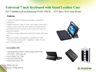 Universal 7 inch Keyboard with Stand Leather Case