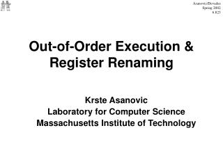 Out-of-Order Execution & Register Renaming