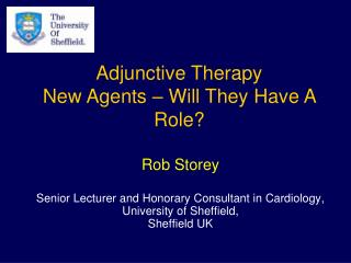 Rob Storey  Senior Lecturer and Honorary Consultant in Cardiology,  University of Sheffield,  Sheffield UK