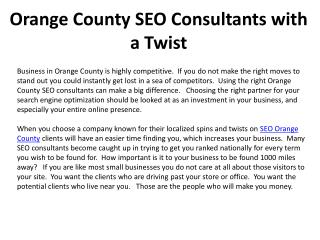Orange County SEO Consultants with a Twist