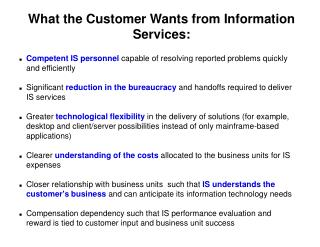 What the Customer Wants from Information Services: