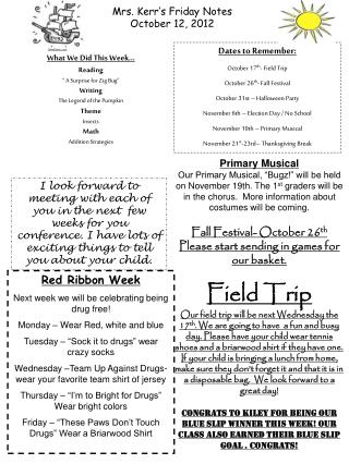 Mrs. Kerr's Friday Notes October 12, 2012