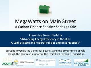 MegaWatts on Main Street A Carbon Finance Speaker Series at Yale Presenting Steven Nadel in