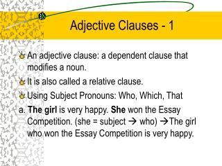 Adjective Clauses - 1