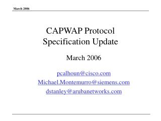CAPWAP Protocol  Specification Update