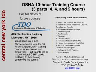 OSHA 10-hour Training Course (3 parts; 4, 4, and 2 hours)