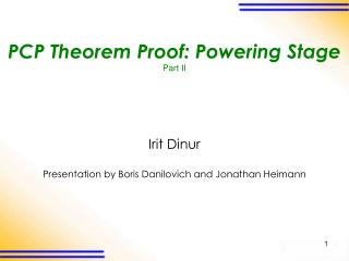 PCP Theorem Proof: Powering Stage