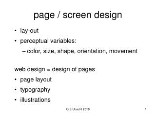 page / screen design