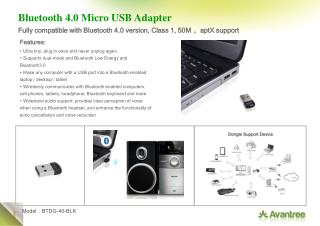 Bluetooth 4.0 Micro USB Adapter