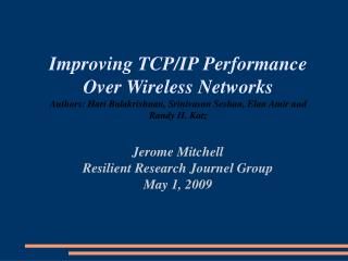 Jerome Mitchell Resilient Research Journel Group May 1, 2009