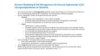 Business  Modelling  &  Risk  Management mit Financial Engineering?  (2/2):  SWAP-Lösung