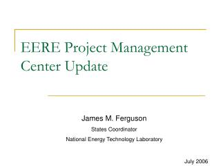 EERE Project Management Center Update