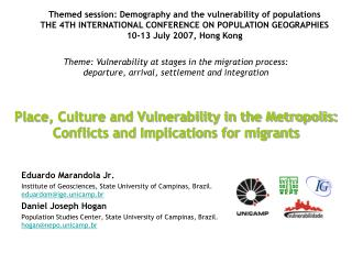 Place, Culture and Vulnerability in the Metropolis: Conflicts and Implications for migrants