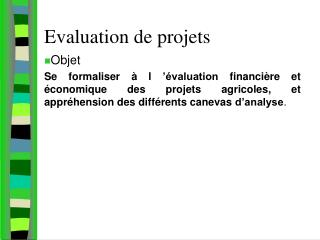 Evaluation de projets