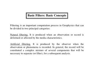 Basic Filters: Basic Concepts