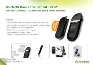 Bluetooth Hands Free Car Kit –  CK19V