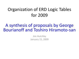 Organization of ERD Logic Tables for 2009