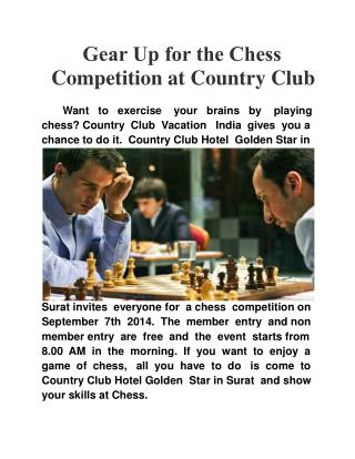 Gear up for the Chess Competition at Country Club