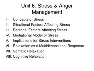 Unit 6: Stress & Anger Management