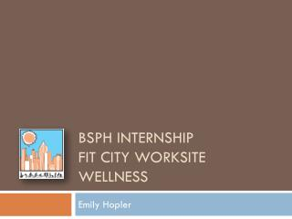 BSPH Internship Fit City Worksite Wellness