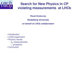 Pavel Krokovny    Heidelberg University on behalf of LHCb collaboration