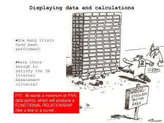 Displaying data and calculations