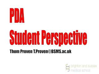 PDA  Student Perspective