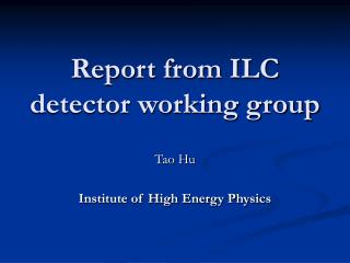 Report from ILC detector working group