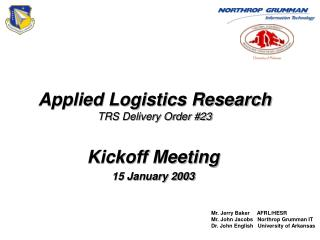 Applied Logistics Research TRS Delivery Order #23