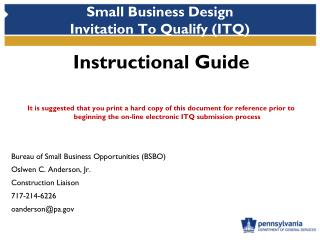 Small Business Design  Invitation To Qualify (ITQ)
