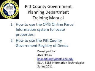 Pitt County Government  Planning Department Training Manual