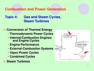 Combustion and Power Generation Topic 4:Gas and Steam Cycles, Steam Turbines