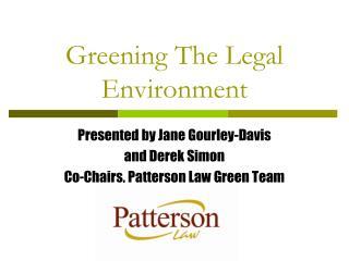 Greening The Legal Environment