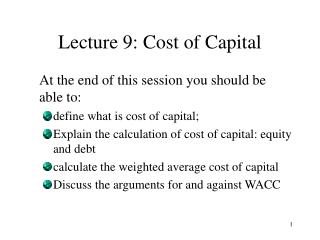 Lecture 9: Cost of Capital