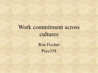 Work commitment across cultures