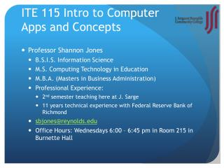 ITE 115 Intro to Computer  Apps and Concepts
