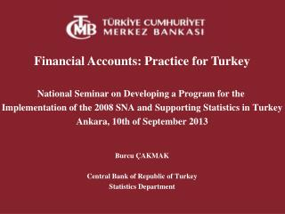Financial  Accounts :  Practice for Turkey National Seminar  on  Developing  a Program  for the