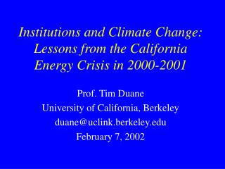 Institutions and Climate Change: Lessons from the California Energy Crisis in 2000-2001