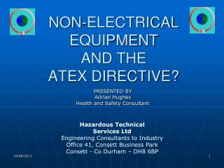 NON-ELECTRICAL EQUIPMENT AND THE ATEX DIRECTIVE?