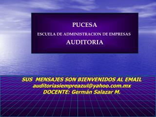 PUCESA ESCUELA DE ADMINISTRACION DE EMPRESAS AUDITORIA