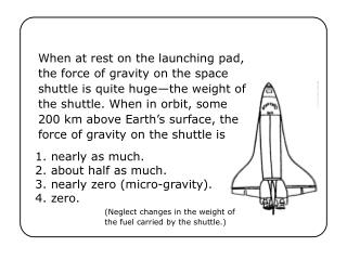 1. nearly as much. 2. about half as much. 3. nearly zero (micro-gravity). 4. zero.