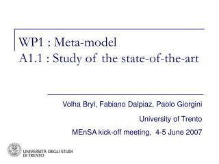 WP1 : Meta-model A1.1 : Study of the state-of-the-art