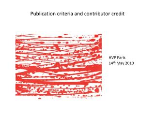 Publication criteria and contributor credit