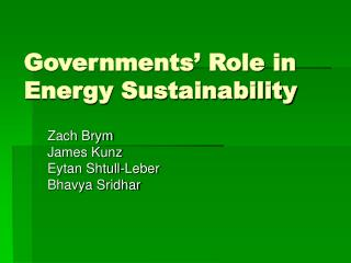 Governments' Role in Energy Sustainability