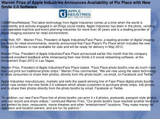 Warren Friss of Apple Industries Announces Availability of P