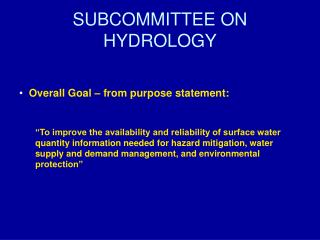 SUBCOMMITTEE ON HYDROLOGY
