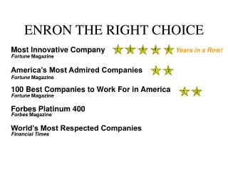 ENRON THE RIGHT CHOICE